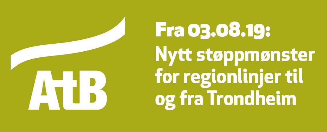 Endret stoppmønster for regionlinjer til og fra Trondheim