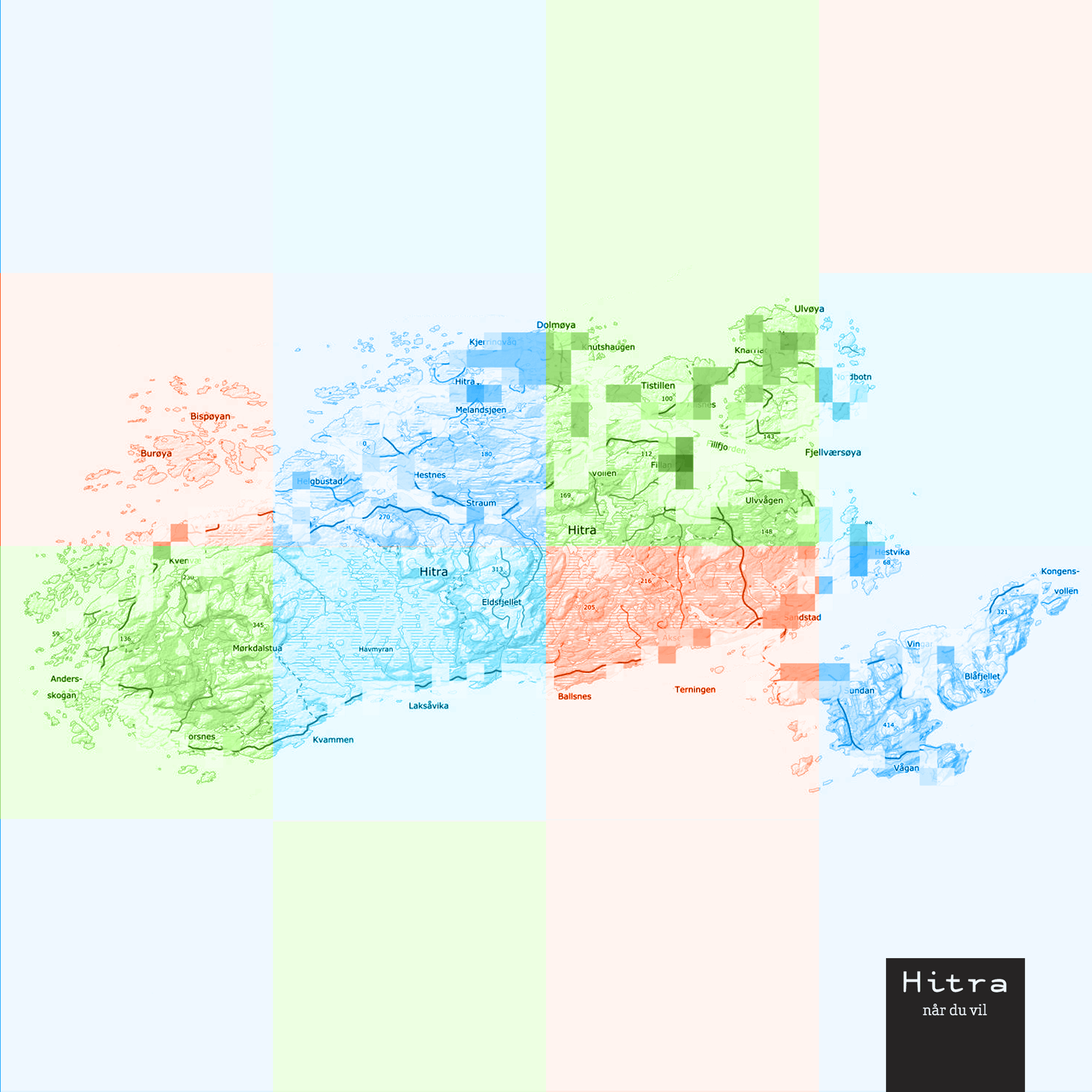 Fargerikt kart over Hitra kommune