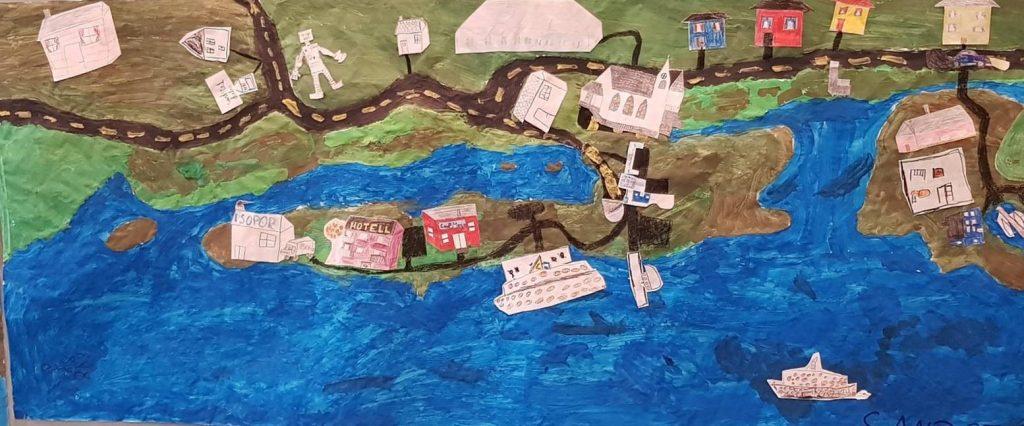 Collage kart over Jøsnøya og Sandstad